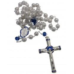Chapelet métal argenté et bleu