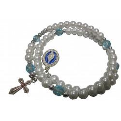 Bracelet double blanc bleu V Miraculeuse