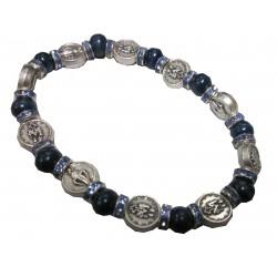 Bracelet grains bois bleu médaille argenté V Miraculeuse
