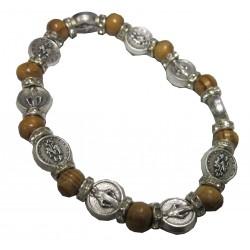 Bracelet bois médaille métal argenté  V Miraculeuse