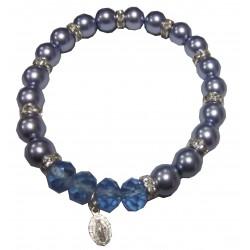 Bracelet  bleu médaille V Miraculeuse