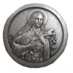Magnet rond argenté Ste Thérèse