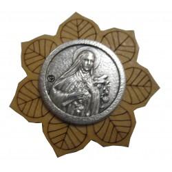Magnet fleur bois métal Ste Thérèse