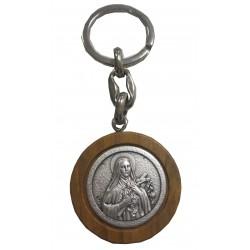 Porte- clé rond bois métal Ste Thérèse