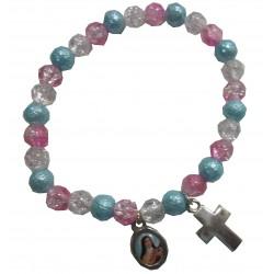 Bracelet 3 couleurs croix médaille Ste Thérèse