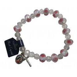 Bracelet Crystal  facetté croix médaille Ste Thérèse