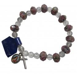 Bracelet Crystal rose foncé croix médaille Ste Thérèse