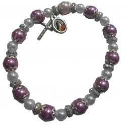Bracelet rose irisé  croix médaille Ste Thérèse