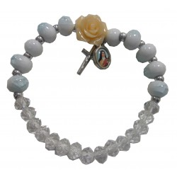 """Bracelet """"rose saumon"""" croix médaille Ste Thérèse"""