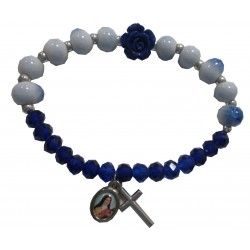 """Bracelet bleu et blanc""""rose bleu"""" croix médaille Ste Thérèse"""