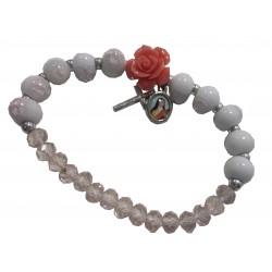 """Bracelet """"rose rose"""" croix médaille"""" Ste Thérèse"""
