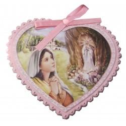Médaillon coeur rose de berceau NDL