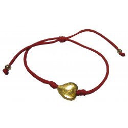 Bracelet rouge coeur doré NDL