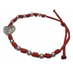 Bracelet rouge boules et coeur argentés NDL