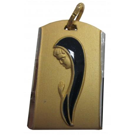 Médaille rectangulaire doré Vierge Marie