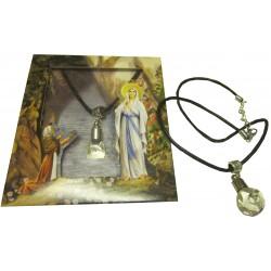 Pendentif flacon verre(  Notre Dame de Lourdes)