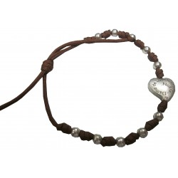 Bracelet marron boules et coeur argentés NDL