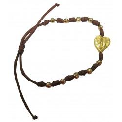 Bracelet marron boules et coeur dorés NDL