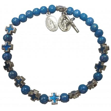 Bracelet bleu NDL VM Croix