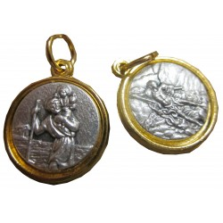 Médaille ronde S CHR S M métal argenté /doré