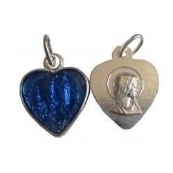 Médaille coeur argenté bleue NDL