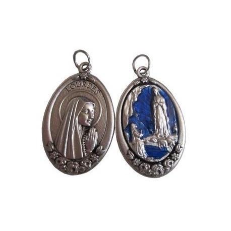 Médaille ovale argenté bleu NDL