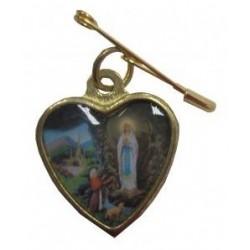 Médaille coeur dorée épingle NDL