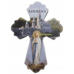 Magnet croix bois NDLourdes
